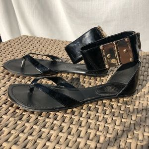 Vince Camuto Black Cuff Sandals Gold Details